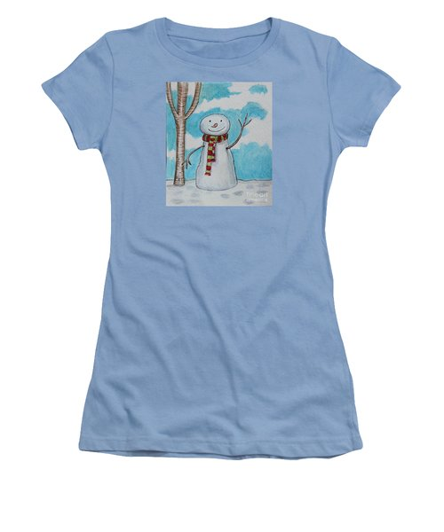 Women's T-Shirt (Junior Cut) featuring the painting The Snowman Smile by Elizabeth Robinette Tyndall