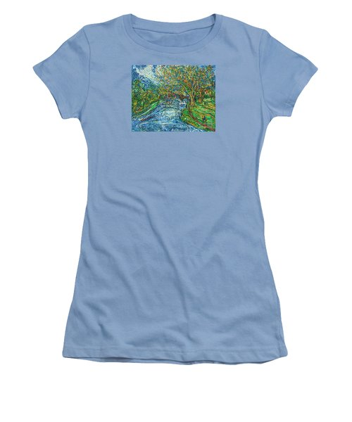 The Thames At Oxford Women's T-Shirt (Junior Cut) by Anna Yurasovsky