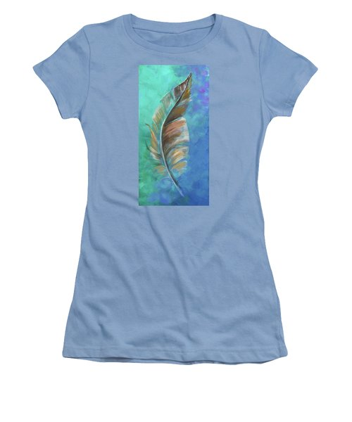 Three Feathers Triptych-center Panel Women's T-Shirt (Junior Cut) by Agata Lindquist