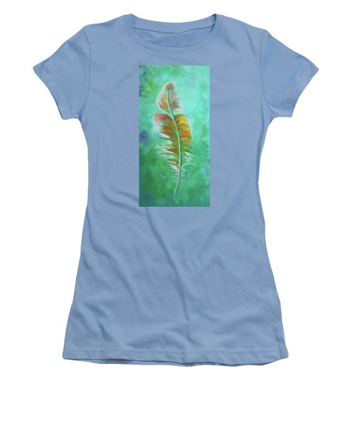 Three Feathers Triptych-left Panel Women's T-Shirt (Junior Cut) by Agata Lindquist