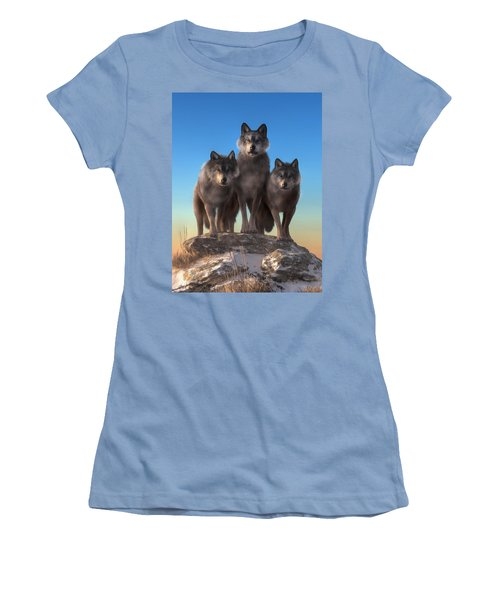 Three Wolves Watching You Women's T-Shirt (Athletic Fit)
