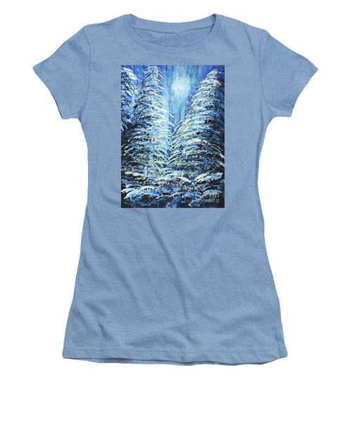 Women's T-Shirt (Junior Cut) featuring the painting Tim's Winter Forest by Holly Carmichael