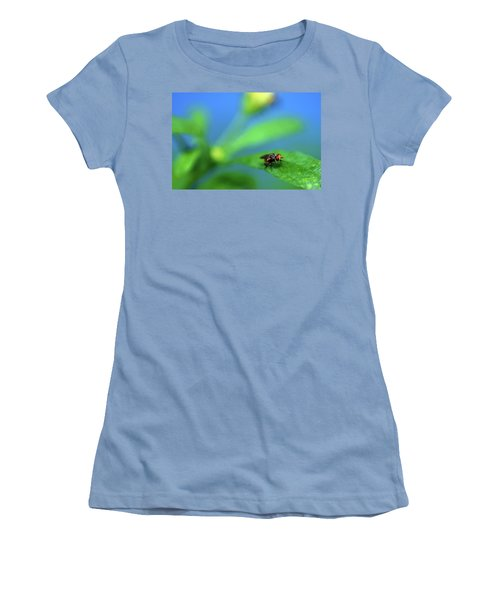 Tiny Fly On Leaf Women's T-Shirt (Athletic Fit)