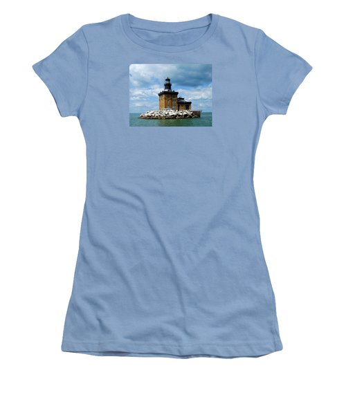 Women's T-Shirt (Junior Cut) featuring the photograph Toledo Harbor Lighthouse by Michiale Schneider