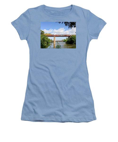 Train Across Lady Bird Lake Women's T-Shirt (Junior Cut) by Felipe Adan Lerma