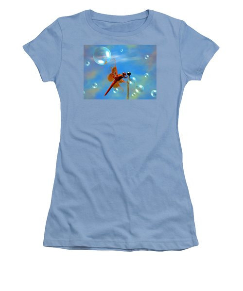 Transparent Red Dragonfly Women's T-Shirt (Athletic Fit)