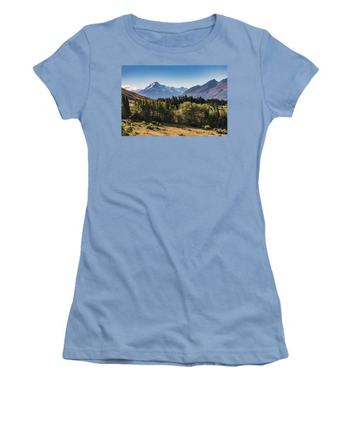 Women's T-Shirt (Athletic Fit) featuring the photograph Tree View Of Mt Cook Aoraki by Gary Eason