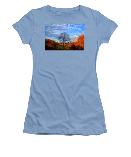 Women's T-Shirt (Junior Cut) featuring the photograph Treetops Sunrise by Kathryn Meyer