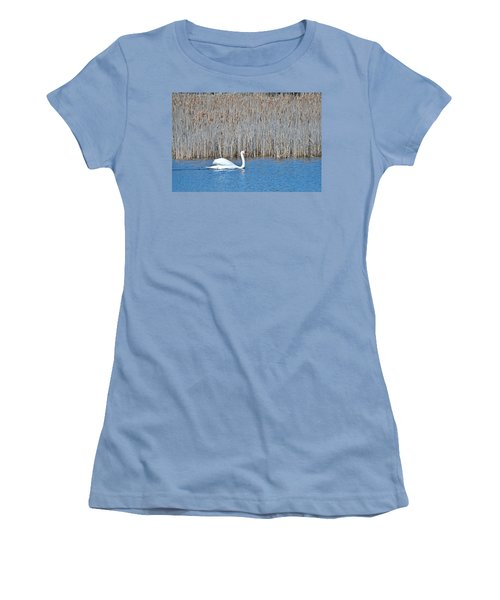 Women's T-Shirt (Junior Cut) featuring the photograph Trumpeter Swan 0967 by Michael Peychich