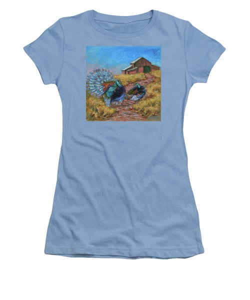 Women's T-Shirt (Athletic Fit) featuring the painting Turkey Tom's Tango by Xueling Zou