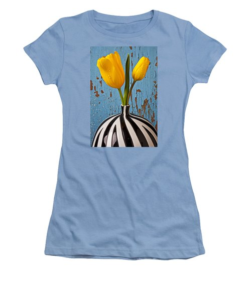 Two Yellow Tulips Women's T-Shirt (Junior Cut) by Garry Gay