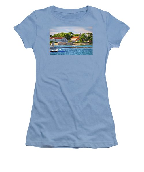 Ugljan Island Village Old Church And Beach View Women's T-Shirt (Athletic Fit)