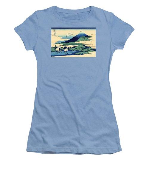 Umegawa In Sagami Province, One Of Thirty Six Views Of Mount Fuji Women's T-Shirt (Junior Cut) by Hokusai