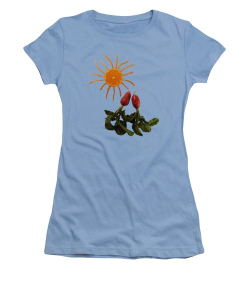 Under A Tangerine Sun - On Blue Women's T-Shirt (Athletic Fit)