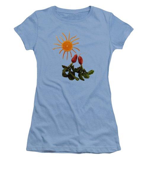 Under A Tangerine Sun - On Blue Women's T-Shirt (Athletic Fit)