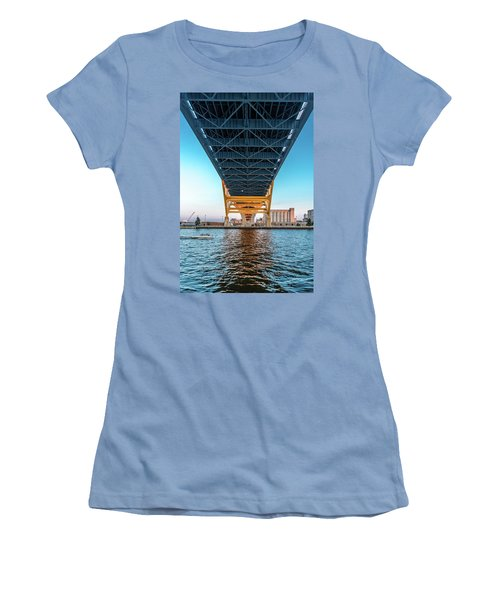 Women's T-Shirt (Athletic Fit) featuring the photograph Under The Hoan by Randy Scherkenbach