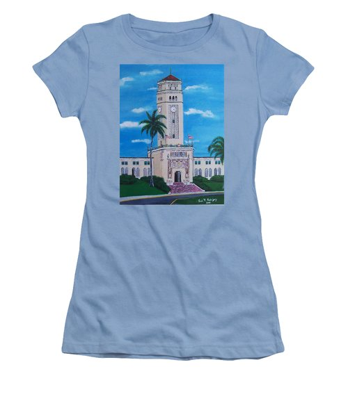 University Of Puerto Rico Tower Women's T-Shirt (Junior Cut) by Luis F Rodriguez