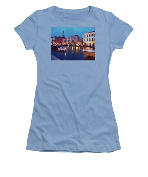 Women's T-Shirt (Athletic Fit) featuring the photograph Venice By Night by Anne Kotan