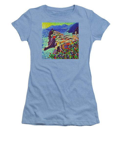 Vernazza Cinque Terre Italy 2 Modern Impressionist Palette Knife Oil Painting By Ana Maria Edulescu  Women's T-Shirt (Athletic Fit)