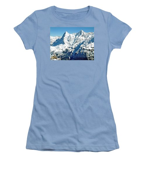 View Of The Eiger From The Piz Gloria Women's T-Shirt (Junior Cut) by Joseph Hendrix