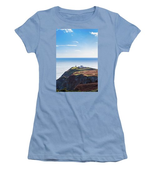 View Of The Trails On Howth Cliffs With The Lighthouse In Irelan Women's T-Shirt (Junior Cut) by Semmick Photo