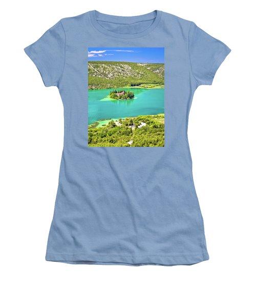 Visovac Lake Island Monastery Aerial View Women's T-Shirt (Junior Cut) by Brch Photography
