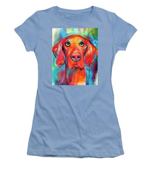 Vizsla Dog Portrait Women's T-Shirt (Junior Cut) by Svetlana Novikova