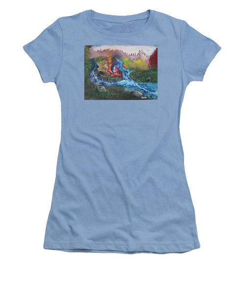 Women's T-Shirt (Junior Cut) featuring the painting Volcano Delta by Antonio Romero