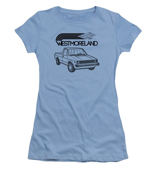 Vw Rabbit Pickup - Westmoreland Theme - Black Women's T-Shirt (Junior Cut) by Ed Jackson