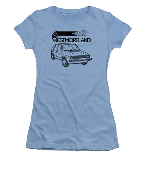 Vw Rabbit - Westmoreland Theme - Black Women's T-Shirt (Junior Cut) by Ed Jackson