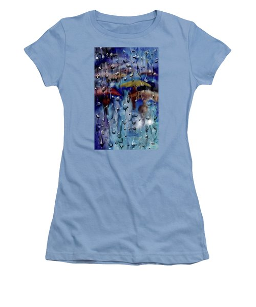 Women's T-Shirt (Athletic Fit) featuring the digital art Walking In The Rainfall by Darren Cannell