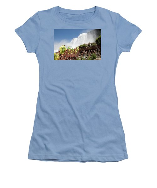 Women's T-Shirt (Athletic Fit) featuring the photograph Walking Up Below Niagara Falls by Jeff Folger