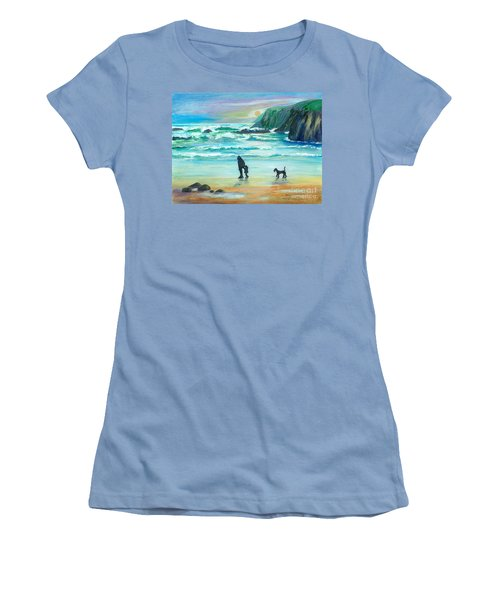 Walking With Grandpa - Painting Women's T-Shirt (Athletic Fit)