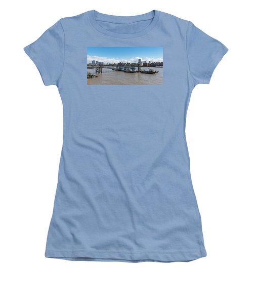 Women's T-Shirt (Athletic Fit) featuring the photograph Wapping River Police Waterloo Pier by Gary Eason