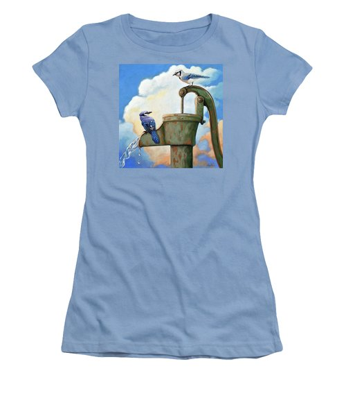 Women's T-Shirt (Junior Cut) featuring the painting Water Is Life #3 -blue Jays On Water Pump Painting by Linda Apple