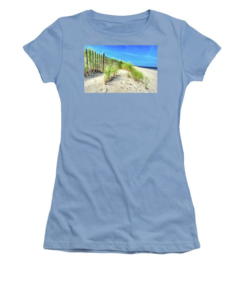 Women's T-Shirt (Athletic Fit) featuring the photograph Waterfront Sand Dune And Grass by Gary Slawsky