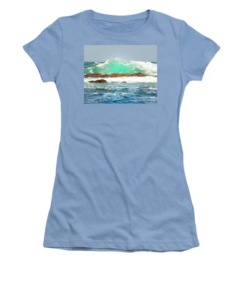 Waves At Pacific Grove California Women's T-Shirt (Athletic Fit)