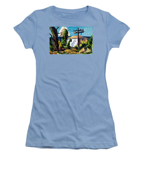 Where I Will Be Double Matted And Plexi-glass Metal Framed Women's T-Shirt (Junior Cut)