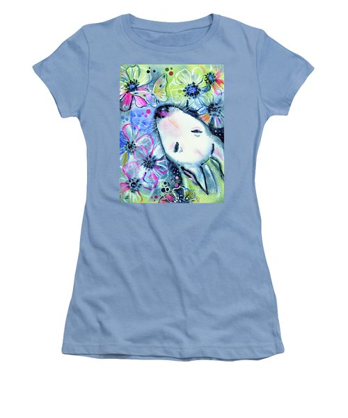 Women's T-Shirt (Athletic Fit) featuring the painting White Bull Terrier And Butterfly by Zaira Dzhaubaeva