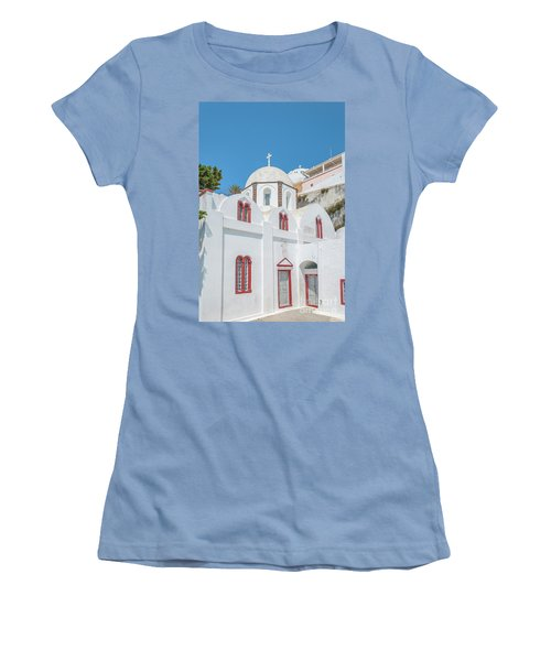 Women's T-Shirt (Junior Cut) featuring the photograph White Church At Fira by Antony McAulay