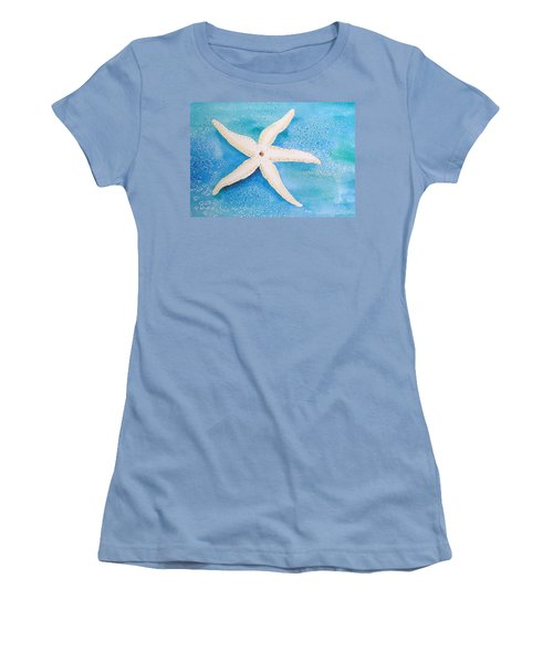 White Starfish Women's T-Shirt (Athletic Fit)
