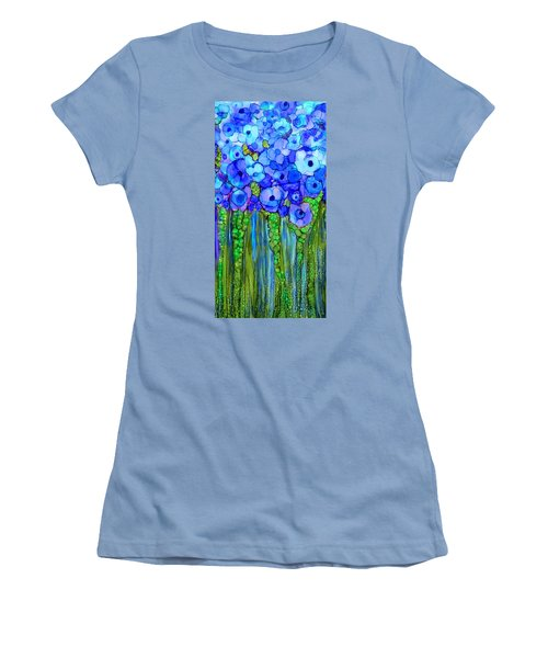 Women's T-Shirt (Athletic Fit) featuring the mixed media Wild Poppy Garden - Blue by Carol Cavalaris