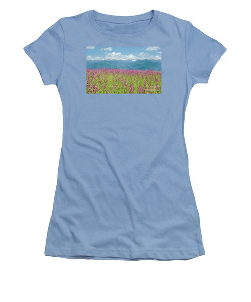 Wildflower Meadows And The Carpathian Mountains, Romania Women's T-Shirt (Athletic Fit)