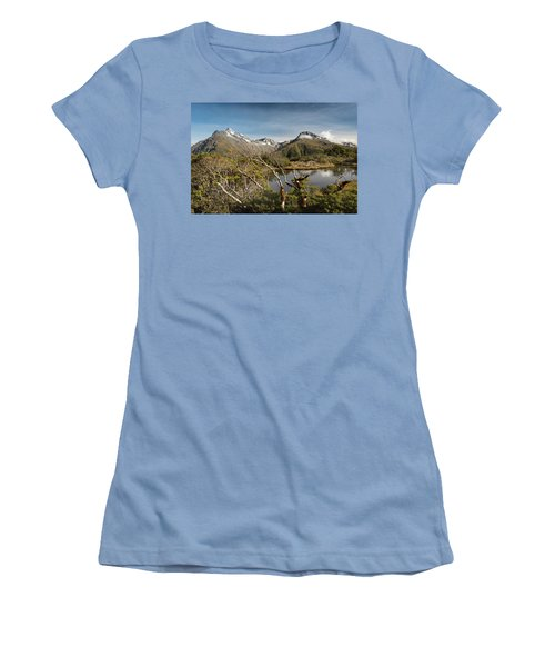 Women's T-Shirt (Athletic Fit) featuring the photograph Windswept Branches On Key Summit by Gary Eason