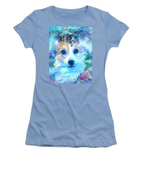 Women's T-Shirt (Junior Cut) featuring the digital art Winter Welsh Corgi by Kathy Kelly
