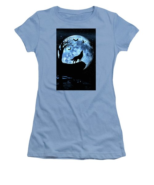 Wolf Howling At Full Moon With Bats Women's T-Shirt (Junior Cut) by Justin Kelefas