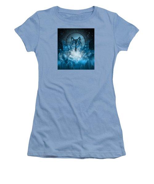 Wolf In Blue Women's T-Shirt (Junior Cut) by Bekim Art