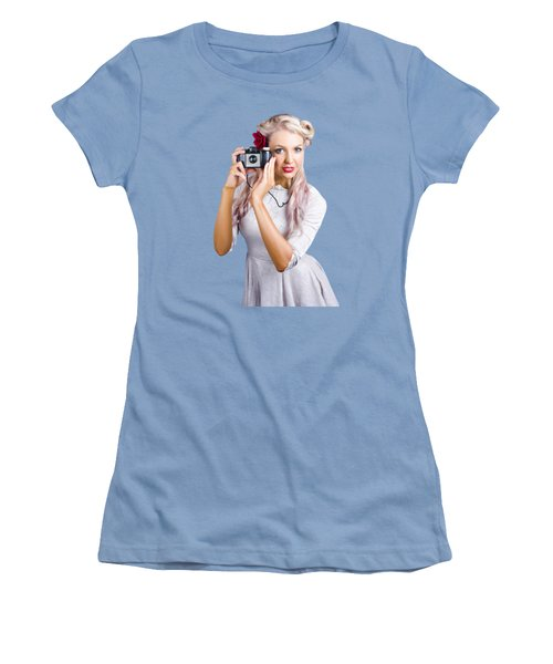 Woman Using Retro Film Camera Women's T-Shirt (Junior Cut) by Jorgo Photography - Wall Art Gallery