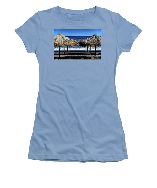 Wood Thatch Umbrellas On Black Sand Beach, Perissa Beach, In Santorini, Greece Women's T-Shirt (Athletic Fit)