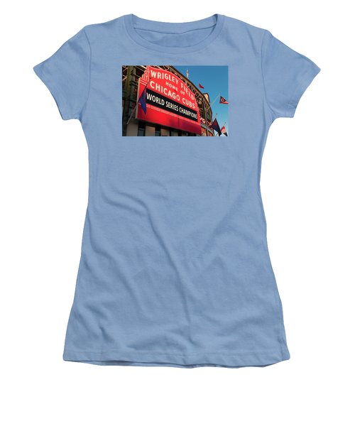 Wrigley Field World Series Marquee Angle Women's T-Shirt (Junior Cut) by Steve Gadomski
